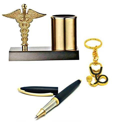 SMART WORLD Doctor's Gift Set with Metal Pen Stand, Ball Pen and Keychain