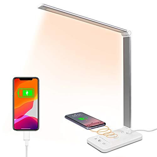 Schreibtischlampe LED, USB Tischlampe 5W 3 Farb und 7 Helligkeitsstufen Dimmbar Tischleuchte mit Touchbedienung, Augenschutz verstellbarer Schwanenhals (white)