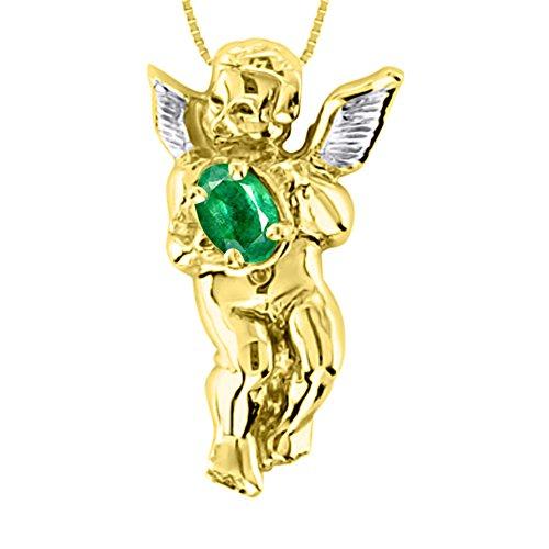 Collar con colgante de esmeralda y diamante de oro amarillo de 14 quilates