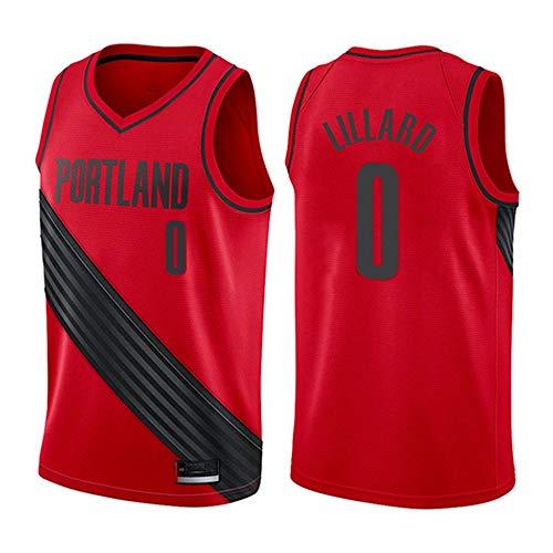 XSJY Jersey Men's NBA Portland Trail Blazers # 0 Damian Lillard Cool Tela Transpirable Bordado Jerseys Retro, Unisex Baloncesto Fan Uniforme,C,S:165~170cm/50~65kg