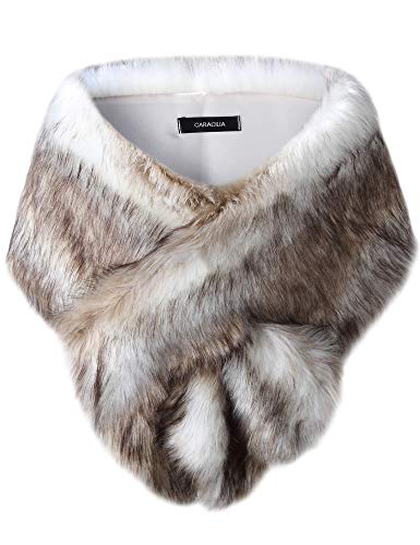 Caracilia Shawl Wrap Faux Fur Shrug Stole Scarf Winter Bridal Wedding Cover Up sansemao CAFB3, Fox White / Brown, Large