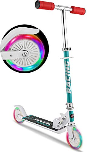 WeSkate B3 Scooter for Kids with LED Light Up Wheels Adjustable Height Kick Scooters for Boys and Girls Rear Fender Break|5lb Lightweight Folding Kids Scooter 110lb Weight Capacity White/B3/FBA