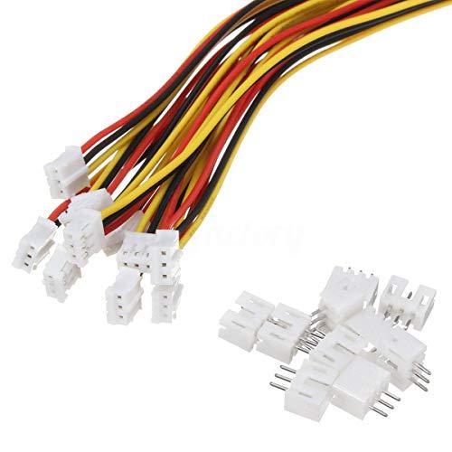 10 Sets Mini Micro JST 2.0 Ph 3 Pin-Stecker-Stecker männlich mit 150 mm Kabel & Female