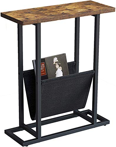 UMI. by Amazon H Shape Narrow Side Table,21-Inch Wood & Metal End Table with Magazine Holder,Rustic Brown
