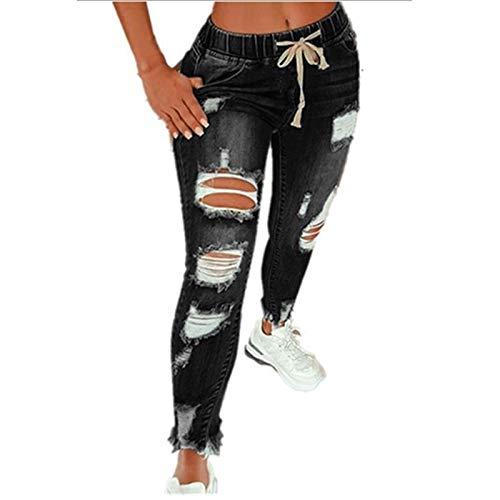 Pantalones de Mezclilla Rasgados Vaqueros Ajustados Vaqueros Largos Pantalones de Mezclilla Ajustados Pantalones Ajustados Elásticos de Cintura Alta Pantalones de Color Sólido para Mujer