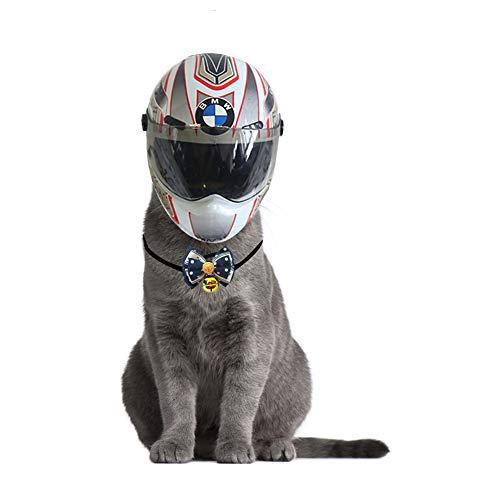 Welpe Katze und Hund Haustier Mini Helm, Kopfschutz Helm Kleine Outdoor-Cap Motorrad Haustier Mini Helm Mit Haustier Herr Krawatte Glocke,01,S