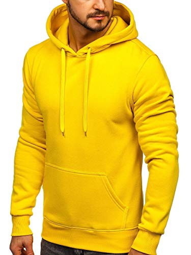 BOLF Herren Kapuzenpullover Sweatjacke Hoodie Sweatshirt mit Kapuze Farbvarianten Kapuzenpulli Freizeit Training Gym Fitness J.Style 2009 Gelb L [1A1]