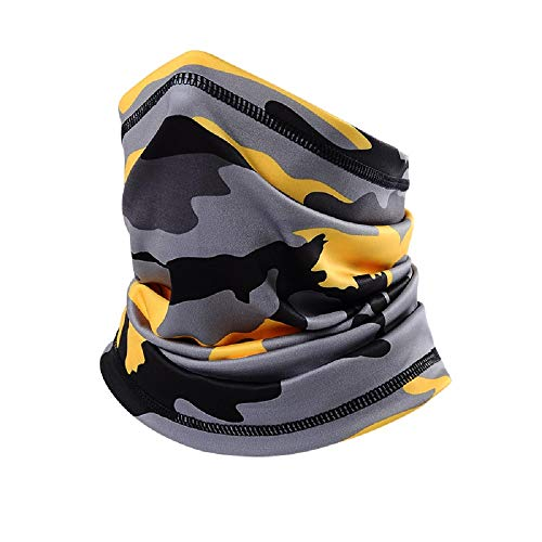 Jepony Cooling Neck Gaiter for Men Autumn with Drawstring Face Scarf adjustable Breathable Lightweigh for Fishing Hiking Running Cycling Sports Outdoor face Scarf mask for Men Camouflage Yellow