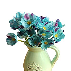 LebriTamFa 10 PCS High Quaulity Fresh Artificial Mini Real Touch PU/Latex Corn Poppies Decorative Silk Fake Artificial Poppy Flowers for Wedding Holiday Bridal Bouquet Home Party Decor (Blue)