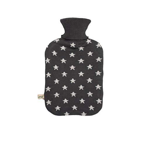 UMOI Premium Wärmflasche 2 Liter mit hochwertigem Strickbezug Sternen Muster, TÜV Rheinland getestet, neues Modell (Grau)