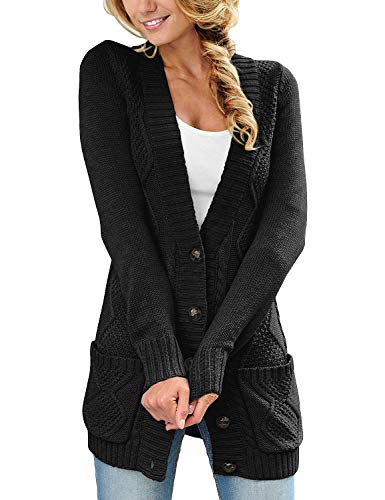 luvamia Womens Black Casual Long Sleeve Open Front Buttons Cable Knit Pocket Sweater Cardigan Outwear Size L(US 12-14)