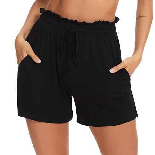 Aibrou Pantalon Corto Pijama Mujer Pantalon Corto de Algodon Verano Mujer Pantalon Corto Dormir Bolsillo Pantalón Corto Punto Chandal Casual Cómodo