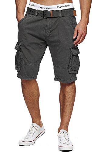 Indicode Herren Monroe Cargo ZA Shorts m. 6 Taschen inkl. Gürtel aus 100% Baumwolle | Kurze Hose Bermuda Sommer Herrenshorts Short Men Pants Cargohose kurz Sommerhose f. Männer Iron 3XL