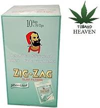 Zigzag Menthol Slimline Cigarette Filter Tips 100's (10 Bags Per Box)