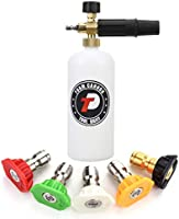 Tool Daily Foam Cannon with 1/4 Inch Quick Connector, 1 Liter, 5 Pressure Washer Nozzle Tips