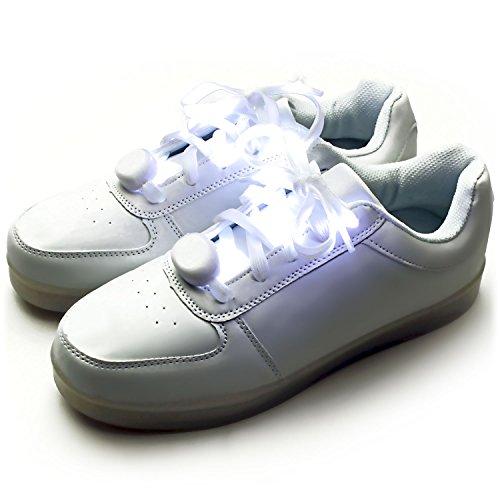 Ucult LED Schnürsenkel Leuchtende Blinkende Nylon Bänder für Party Festivals Sneaker (Weiss)