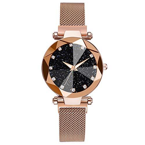 Powzz ornament Reloj de pulsera de cuarzo con correa de malla para mujer, color dorado