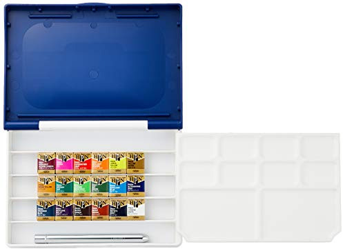 Holbein Artist's Watercolors Set of 18 Half-Pans with Brush (Palm Box Plus) PN694