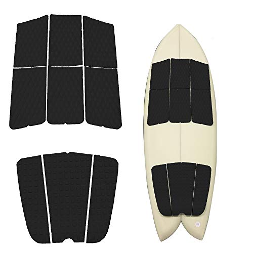 Abahub 9 Piece Surf Deck Traction Pad Premium EVA with Tail Kicker 3M Adhesive for Surfboard Longboard Shortboard Funboard Fish Skimboard Black