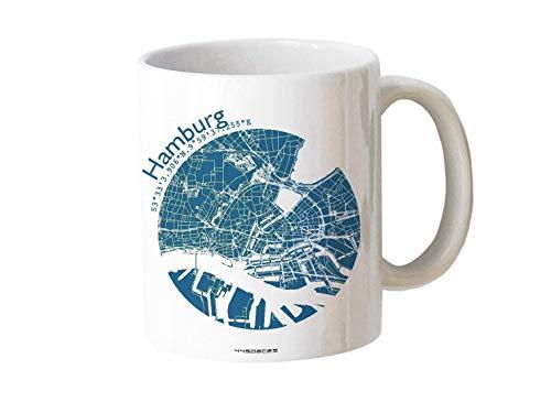 Tasse Hamburg - Bürotasse Kaffeebecher farbige Stadtkarte Städtetasse - Personalisierte Geschenkidee für Kollegen Kollegin Architekt Richtfest Fernweh Heimweh