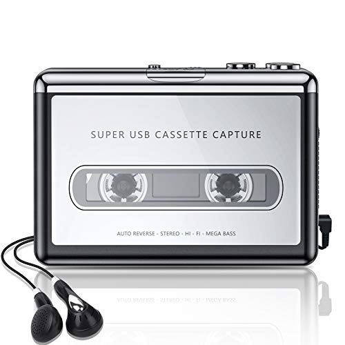 Cassette Player, Portable Walkman Cassette Player from Tapes to MP3 Converter Via USB, Audio Music Player Capture Cassette Recorder with Headphone for Laptop PC and Mac…