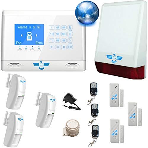 ITALIAN ALARM antifurto casa wireless, mod. CONNECTION 2021 GSM + WIFI, controllabile da APP'S-home'. Sirena wireless 120Db, assistenza telefonica Italia e videotutorial. Già configurato