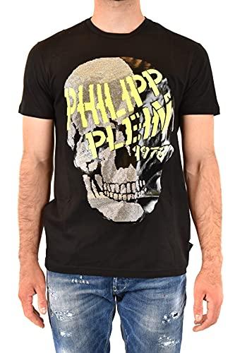 Philipp Plein Herren T-Shirt Round Neck SS Skull and Plein Schwarz Medium