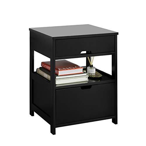 SoBuy FRG258-SCH Beistelltisch Nachttisch Nachtschrank mit 2 Schubladen und 2 Ablagen schwarz BHT ca.: 45x55x38cm