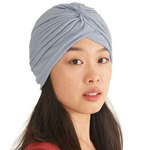 Casualbox Twist Turbante de Moda Plisado Cabeza Gorra Adivino Sombrero Retro Vintage Sky Azul