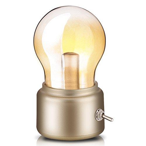 Lámpara Nocturna Lámpara de bombilla retro, USB recargable Lámpara de noche LED Mini lámpara de escritorio lámpara de pie Ahorro de energía y elegante para dormitorio Iluminación de escritorio(Golden)