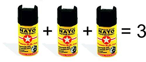 3 Stück Pfefferspray, American Style NATO Pepperspray, Abwehrspray, 3 x 40ml