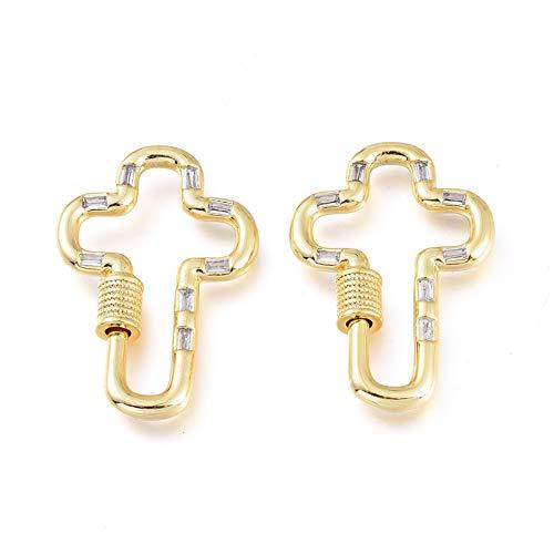Cheriswelry 5 mosquetones de latón con cruz dorada y circonita cúbica, cierre de gancho, cierre de gancho, para joyería y llavero