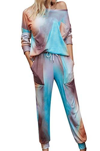 BABYONLINE D.R.E.S.S. Nachtwäsche Damen Lang Winter Sexy, Hausanzug Damen Kuschelig, Schlafanzug Damen Weich mit Kordelzug und Taschen Blau, XL
