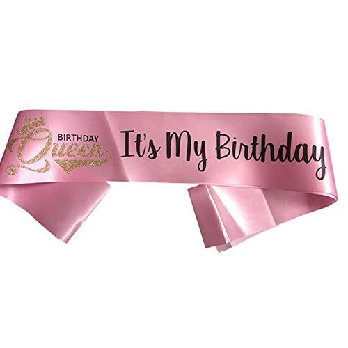 """Faja de cumpleaños, con texto en inglés """"It's My Birthday"""", color rosa satinado para mujeres, 16ª, 18ª, 21ª, 22ª, 30ª, 40ª, 50ª, 60ª, 70ª, 80ª, 90ª fiesta, regalos, decoración, regalo para ella (rosa) 🔥"""
