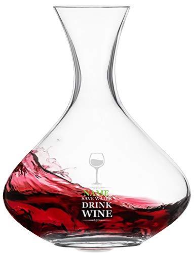 Meinglas Schott Zwiesel Cru Classic Carafe à décanter avec gravure personnalisée [nom] et motif – Safe Water Drink Wine]
