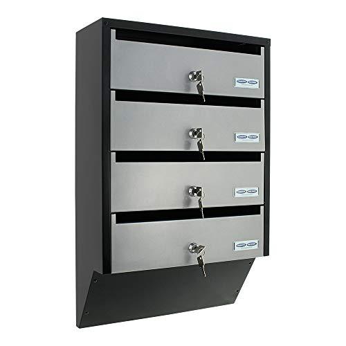 Rottner Briefkastenanlage Depot 4 silber/schwarz, ideal für Mehrfamilienhäuser, T06209