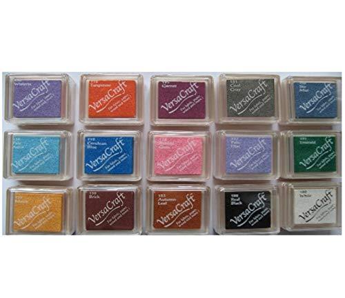 Tsukineko VERSACRAFT Kleine Stempelkissen für Papier, Stoff, Holz, Set mit 15 verschiedenen Farben, plus 1 Larissa Exklusives Edelstein-Set