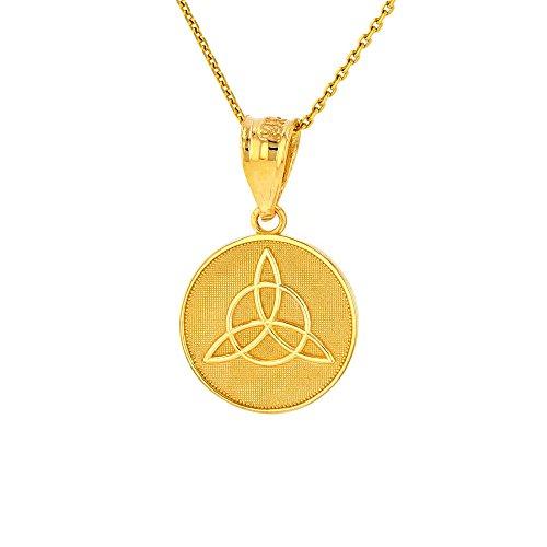 Dainty 10k Yellow Gold Irish Infinity Circle Celtic Trinity Knot Disc Necklace, 18'
