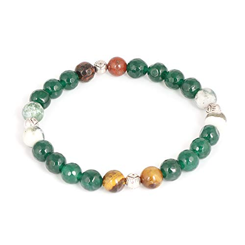 Green & White Agate Natural Gemstone With Tiger's Eye and Silver Ball Charm Stretch 8mm Beaded 7.5 Inch Boys Bracelet