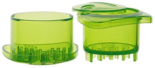 Fackelmann Knoblauch-Zerkleinerer, Knoblauchschneider mit Deckel und Aufbewahrungsfach für Knoblauch, hochwertiger Knoblauchhacker (Farbe: Grün), Menge: 1 Stück