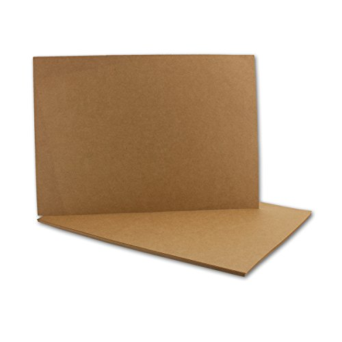 50x Kraftpapier-Karten Bogen A6 in Braun - 105 x 148 mm - Blanko Vintage Einladungs-Karten aus Natur-Karton - 285 g/m² - ohne Falz