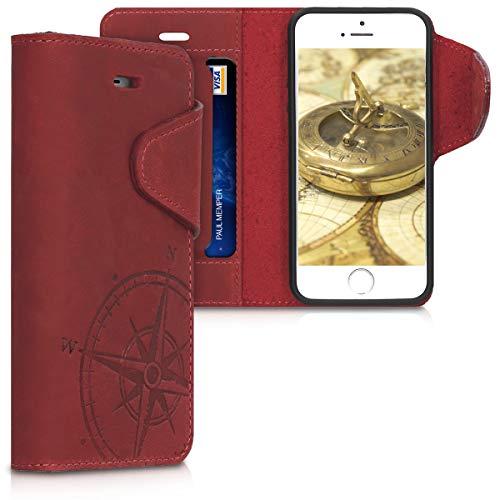 kalibri Hülle kompatibel mit Apple iPhone SE (1.Gen 2016) / 5 / 5S - Leder Handyhülle - Handy Wallet Case Cover Kompass Vintage Dunkelrot