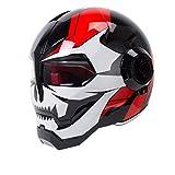 O-Mirechros Retro Moto Vintage Casco da Moto Casco Integrale Casco Moto Cruiser Chopper Cafè Racer Bright White Red M