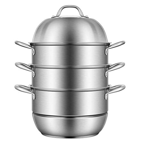 VIVOHOME 3-Tier 8.5Qt 304 Stainless Steel Steamer Pot Steaming Cookware Saucepot with Tempered Glass Lid, Work with Gas, Electric, Induction Oven, Grill Stove Top, Dishwasher Safe