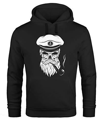 Neverless Hoodie Herren Sweatshirt Totenkopf Kapitän Captain Skull Bard Hipster Original Spirit Seemann schwarz XS