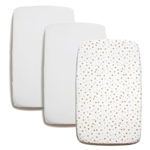 Niimo Set med 2 nyfödda lakan 60x120 100% mjuk bomull + 1 vattentätt madrassöverdrag Spjälsängar med barer enkelsäng säng 60 x 120 cm (vit duvgrå hjärtan)
