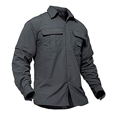 TACVASEN Nylon Wrinkle-Resistant Breathable Long Sleeve Shirt for Climbing Hiking Gray,Medium