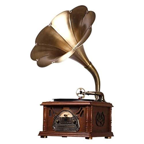 ZSMLB Hi-Fi&Home Audio Vintage Retro Classic Gramófono Forma fonógrafo Altavoz estéreo Sistema Sonido Caja música Audio Blue Tooth Aux-in Drive Altavoz 40w