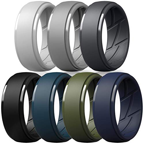 ThunderFit Silicone Wedding Ring for Men, Breathable with Air Flow Grooves - 10mm Wide - 2.5mm Thick (Light Grey, Dark Grey, Navy Blue, Grey, Olive Green, Dark Blue, Black - Size 9.5-10(19.8mm))