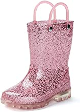 DKSUKO Toddler Light Up Rain Boots Waterprof Rubber Boots with Easy-on Handles (4 Big Kid, Pink)